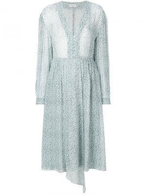 Платье с длинными рукавами и цветочным узором Masscob. Цвет: синий