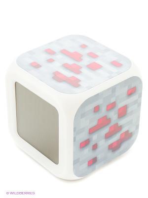 Часы настольные пиксельные с подсветкой Блок красной руды Toypost. Цвет: серый, белый