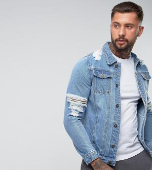 Liquor N Poker Рваная джинсовая куртка. Цвет: синий