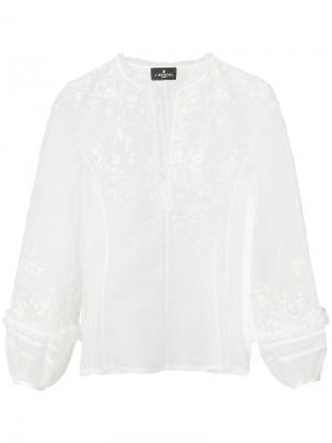 Блузка с вышивкой цвета металлик J. Mendel. Цвет: белый
