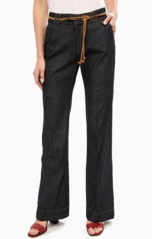 Расклешенные хлопковые брюки TRUCCO. Цвет: синий
