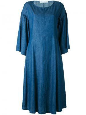 Платье с расклешенными рукавами Stefano Mortari. Цвет: синий
