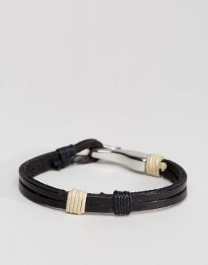Seven London Черный кожаный браслет с крюком. Цвет: коричневый