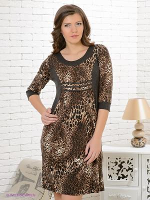 Платье Gemko. Цвет: темно-серый, бежевый, коричневый