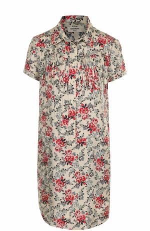 Шелковое платье с бахромой и цветочным принтом Zadig&Voltaire. Цвет: разноцветный