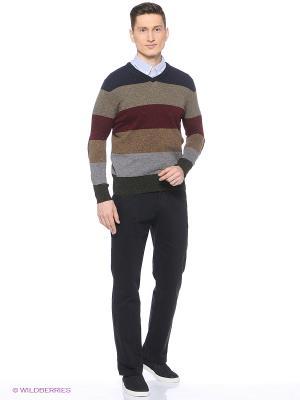 Свитер Colin's. Цвет: темно-коричневый, серый, коричневый, синий
