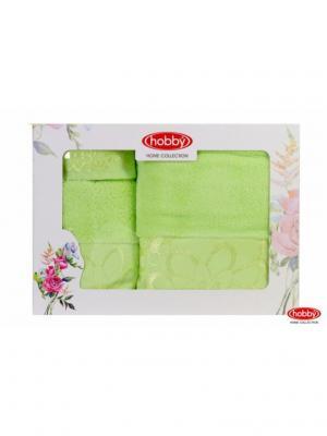 Махровое полотенце в коробке 30x50+50x90+70x140 DORA зеленое,100% хлопок HOBBY HOME COLLECTION. Цвет: зеленый