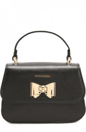 Кожаная сумка с бантом Monnalisa. Цвет: черный