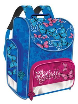 Ранец Premium box Бабочки-цветочки, жесткий каркас, чер-золотой Limpopo. Цвет: синий