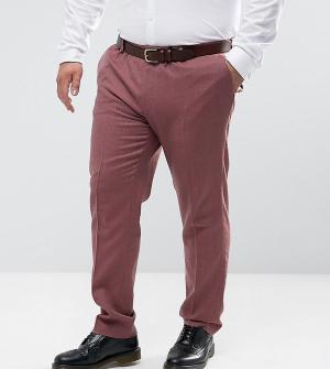ASOS Розовые зауженные строгие брюки из 100% мериносовой шерсти PLUS W. Цвет: розовый