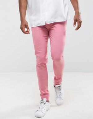 ASOS Розовые строгие супероблегающие брюки. Цвет: розовый