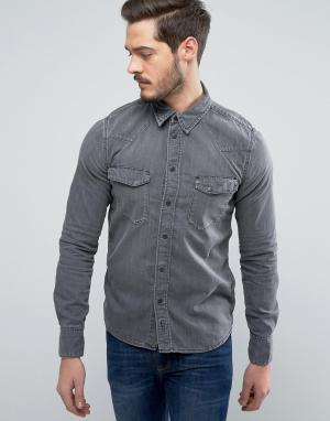 Nudie Jeans Джинсовая рубашка Co Jonis. Цвет: серый