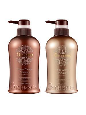 Набор Henna Therapy для окрашенных волос (шампунь 500мл + кондиционер 500 мл) Richenna. Цвет: черный