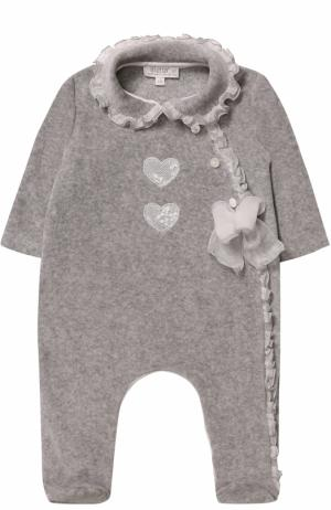 Хлопковая пижама с оборками и бантом Aletta. Цвет: серый
