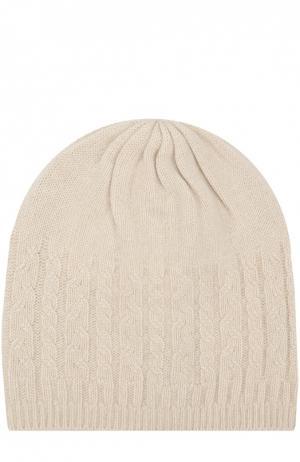 Кашемировая шапка с фактурным узором Johnstons Of Elgin. Цвет: светло-бежевый