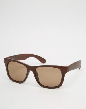 Black Phoenix Квадратные солнцезащитные очки из дерева. Цвет: коричневый