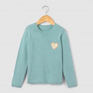 Пуловер теплый с блестящим рисунком сердце,  3-12 лет R essentiel. Цвет: зеленый