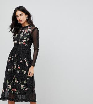 Frock and Frill Короткое приталенное премиум-платье из тюля с цветочной вышивкой и отд. Цвет: черный