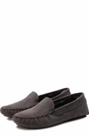 Домашние туфли с венутрненей отделкой из овичны Homers At Home. Цвет: серый