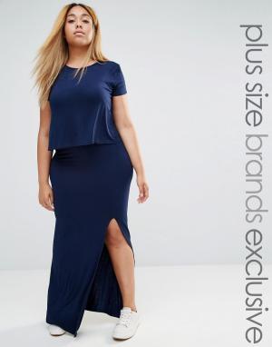Club Lounge Plus Трикотажное платье макси с двухслойным топом L. Цвет: темно-синий