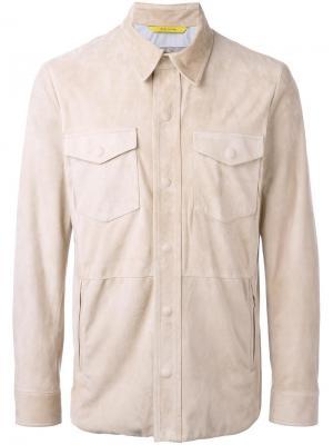 Кожаная куртка с нагрудными карманами Canali. Цвет: телесный