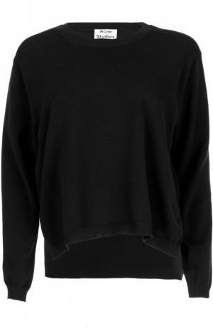 Хлопковый пуловер с разрезами и круглым вырезом Acne Studios. Цвет: синий