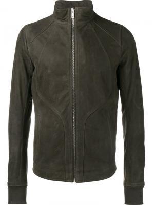 Кожаная куртка на молнии Rick Owens. Цвет: серый