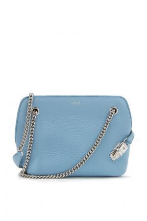 Кожаная сумка с цепочкой Agnona. Цвет: голубой