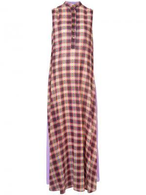 Длинное клетчатое платье Michel Klein. Цвет: розовый и фиолетовый