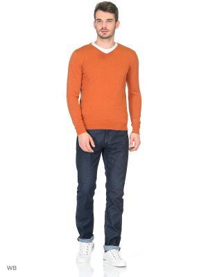 Пуловер TOM TAILOR. Цвет: оранжевый, серый меланж