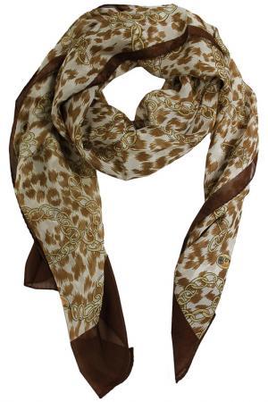 Шелковый шарф SHALBE. Цвет: коричневый