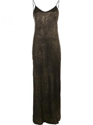 Длинное металлизированное платье Rta. Цвет: чёрный