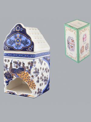 Банка для чайных пакетиков Павлин синий Elan Gallery. Цвет: синий, белый