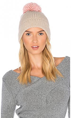 Лыжная шапочка в рубчик с помпоном Hat Attack. Цвет: беж
