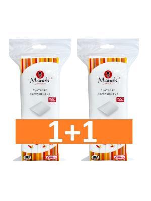 Набор ватных подушечек Lovely KN1163 для ежедневного ухода , 80 шт/упак х 2 упак Maneki. Цвет: белый