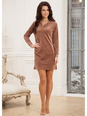 Платье домашнее CLEO. Цвет: коричневый