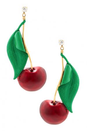 Серьги Cherry Pie Erickson Beamon. Цвет: красный, зеленый