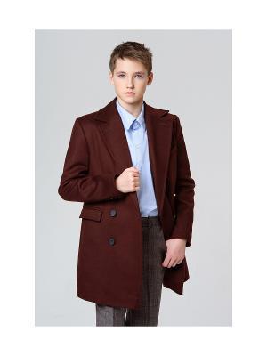 Пальто классическое MORU. Цвет: бордовый