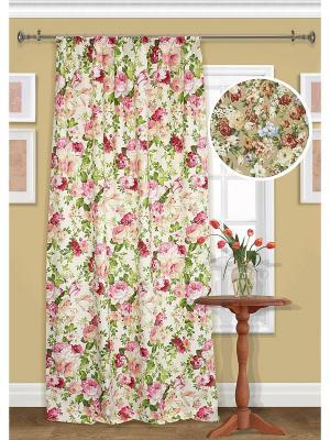 Штора на шторной ленте, Gortenziya Kauffort. Цвет: светло-бежевый, зеленый, розовый