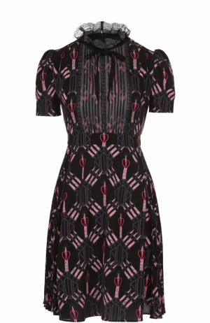 Шелковое платье с завышенной талией и рукавом-фонарик Valentino. Цвет: черный