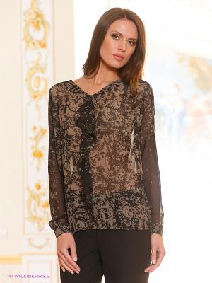 Блузка Natali Silhouette. Цвет: коричневый, черный