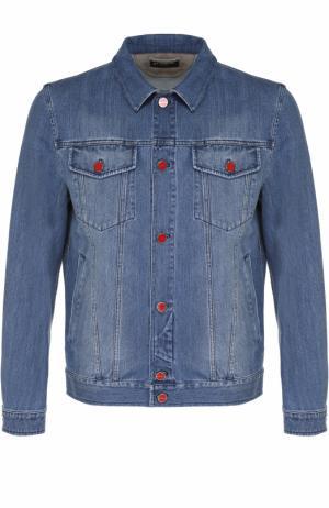 Джинсовая куртка с отложным воротником и контрастными пуговицами Kiton. Цвет: голубой