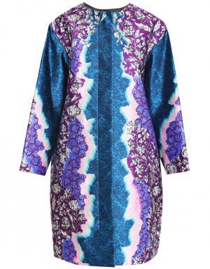 Шелковое пальто Peter Pilotto. Цвет: синий, розовый, пурпурный