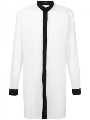Удлиненная рубашка с контрастной планкой Unconditional. Цвет: белый