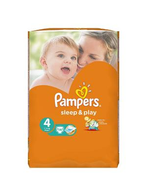 Подгузники Sleep & Play 8-14 кг, 4 размер, 14 шт. Pampers. Цвет: оранжевый