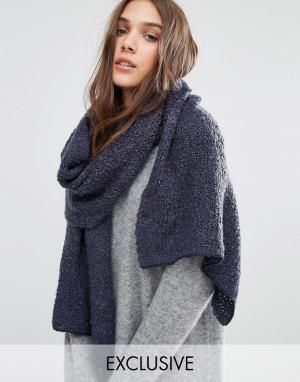 Stitch & Pieces Длинный вязаный шарф. Цвет: темно-синий