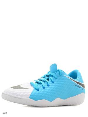 Бутсы Nike Hypervenom Phelon III (IC). Цвет: белый, голубой