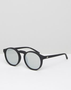 Le Specs Круглые солнцезащитные очки с серебристыми стеклами. Цвет: черный