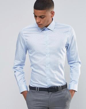 Number Eight Savile Row Строгая рубашка скинни в горошек. Цвет: синий