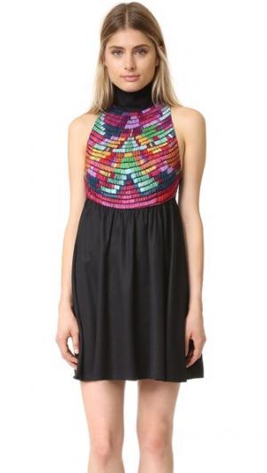Платье с вышивкой и высокой горловиной Mara Hoffman. Цвет: черный мульти